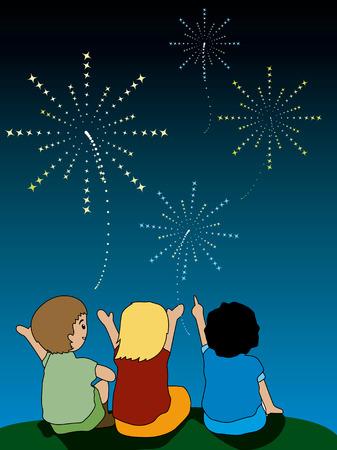 kid vector: Ilustraci�n de ni�os viendo los fuegos artificiales