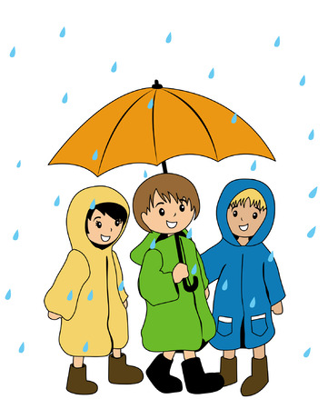 rain cartoon: Illustration of Kids in raincoats