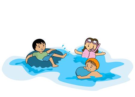 beach ball girl: Illustration of Kids swimming