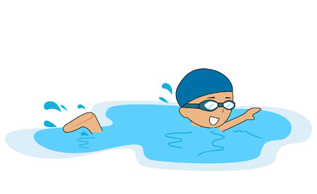 young boy in pool: Illustration of a Boy swimming