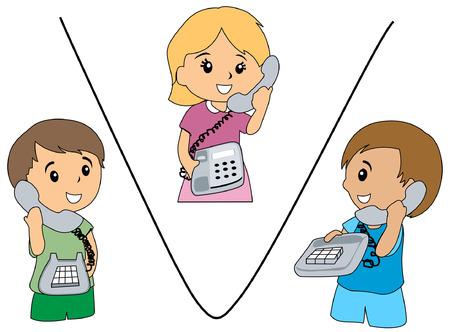 conversations: Illustrazione di Kids parlando al telefono Vettoriali