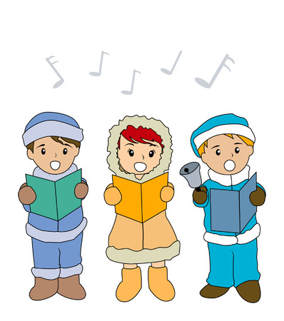 carols: Illustration of Kids singing Christmas Carols