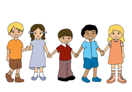 Illustration of Children holding hands Illustration