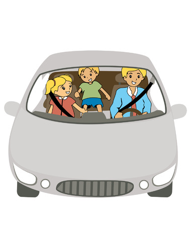 woman driving: Illustration of a Family in a car