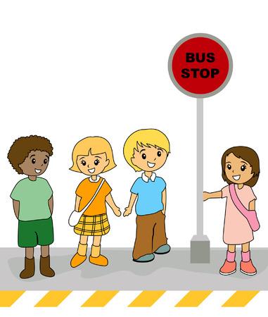 bus stop: Ilustraci�n de ni�os en la parada del autob�s