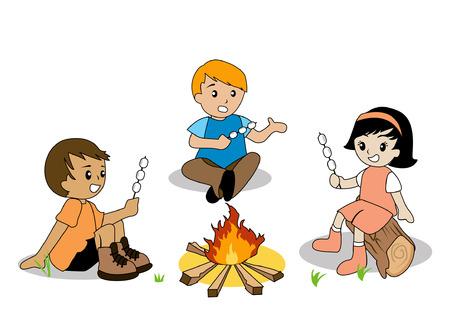 campfire: Illustration of Kids enjoying a campfire