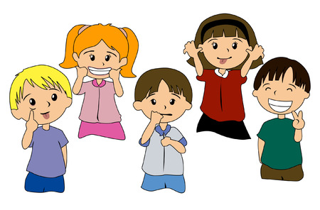Abbildung der Kids-Ausdrücke  Vektorgrafik