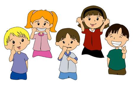 emozioni: Illustrazione di espressioni Kids  Vettoriali