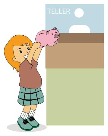 thrift: Ilustraci�n de un hijo en el Banco Vectores
