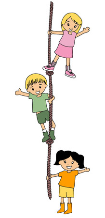 kids drawing: Illustration of Kids Climbing Rope  Illustration
