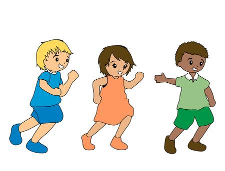 Illustration of Kids Running Vector