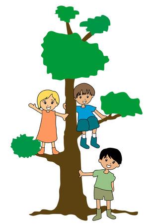 kid vector: Ilustraci�n de ni�os y un �rbol