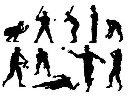 Baseball Players Silhouette Vector