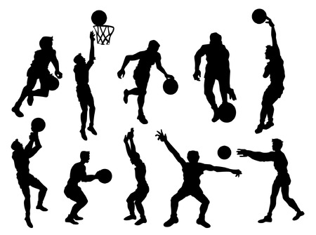 seating: Basketball Players Silhouette Illustration