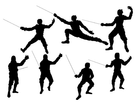 Fencing Silhouettes Vector
