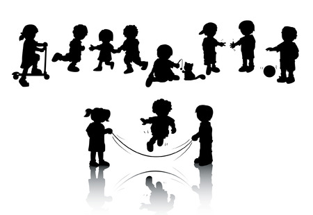 Silhouettes of Kids Playing