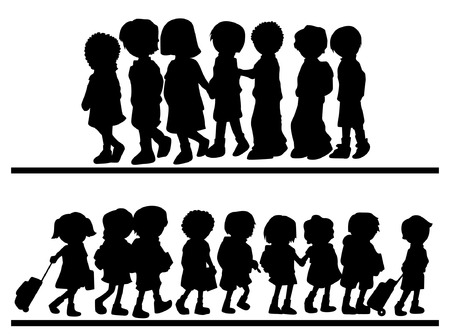 Silhouettes of Children Walking Vector
