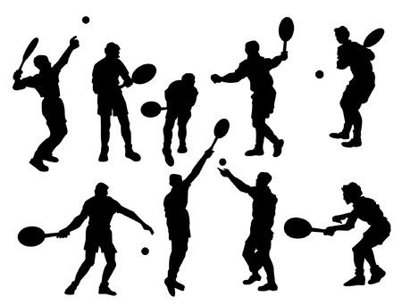 tennis racquet: Los jugadores de tenis Silueta Vectores