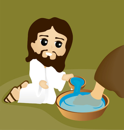 hand wash: Bible Stories: Washing of Feet Illustration