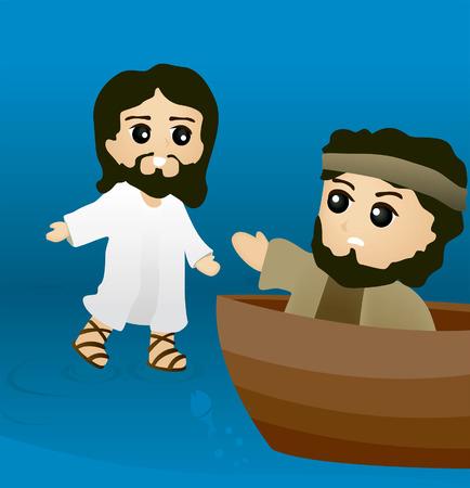 historias biblicas: Historias de la Biblia: Jes�s camina sobre el agua  Vectores