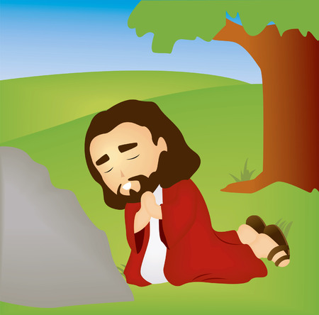 Bible Stories: Jesus praying in the Garden Stock Vector - 1998540