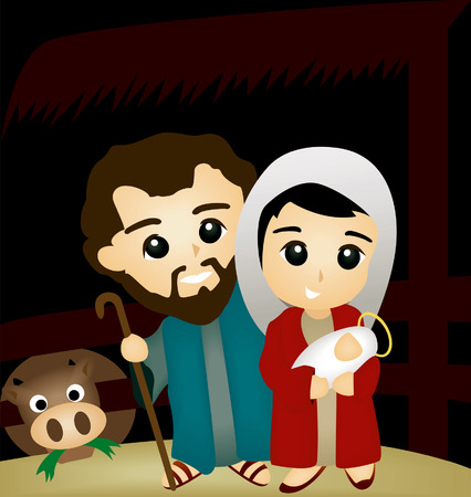 stable: Bible Stories: Joseph, Mary and Jesus in the stable