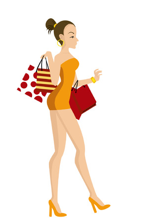 Illustration of a Girl Shopping Stock Vector - 2112359