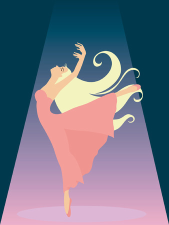 Illustration of a Girl dancing on Stage Illustration