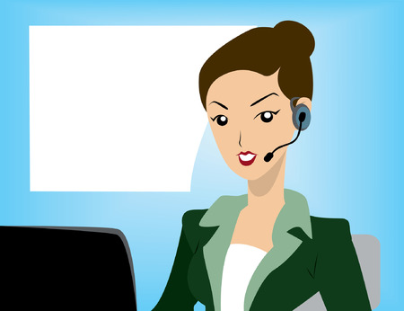 call center office: Illustration of a Call Center Agent Illustration