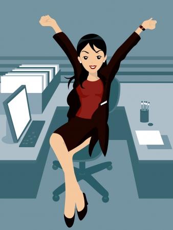 Ilustración de una mujer en la Oficina  Ilustración de vector