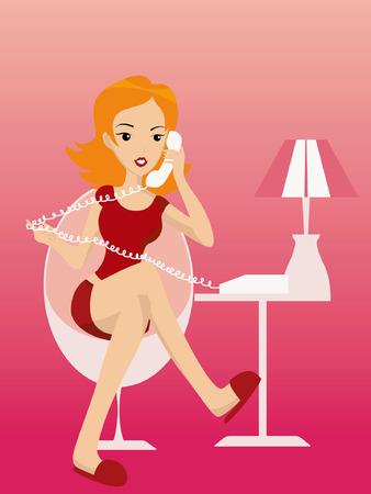 donna con telefono: Illustrazione di uno Girl parlando al telefono Vettoriali