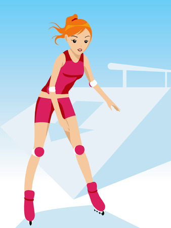 Illustration of a Girl in Roller Blades