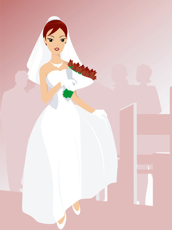 wedlock: Illustration of a Girl in her wedding dress