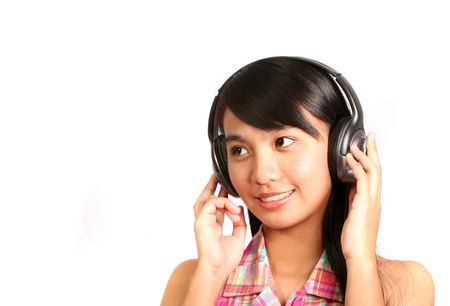Young Asian Girl with Headphone photo