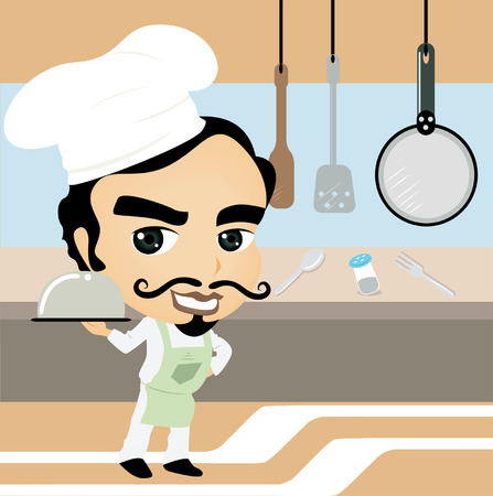 A Chef Caricature in the Kitchen Vector