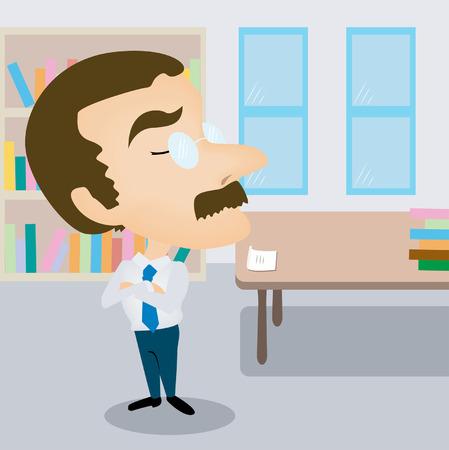 grumpy: Een professor Grumpy Karikatuur in zijn kantoor Stock Illustratie