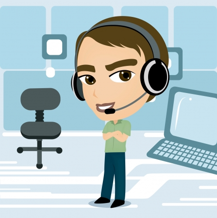 A Call Center Agent Caricature Vector