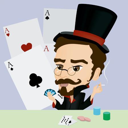 A Gambler Caricature playing Poker Vector