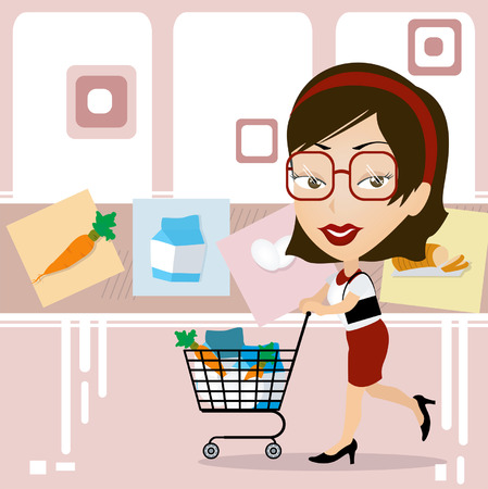 A Woman Caricature in the Supermarket Vector