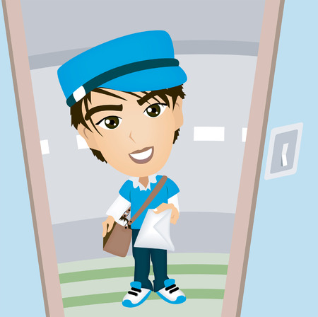 A Mailman Caricature handing the Mail Vector