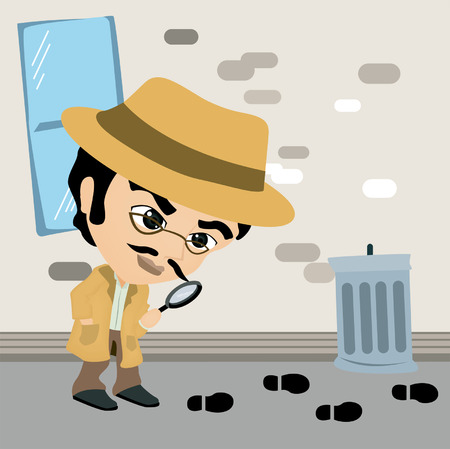 A Detective Caricature following a lead