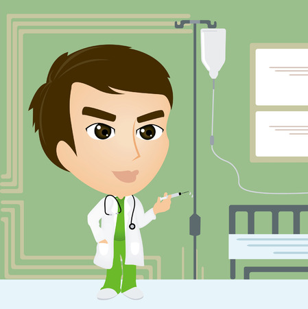 A Doctor Caricature holding a Syringe