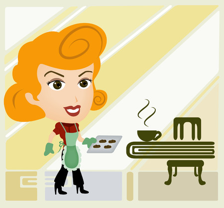 A Girl Caricature holding freshly baked cookies Vector