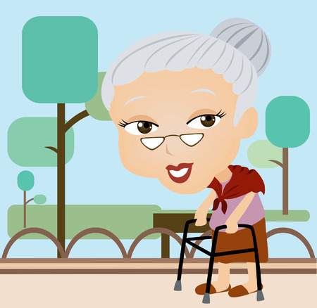 An elderly Caricature walking in the Park Illustration