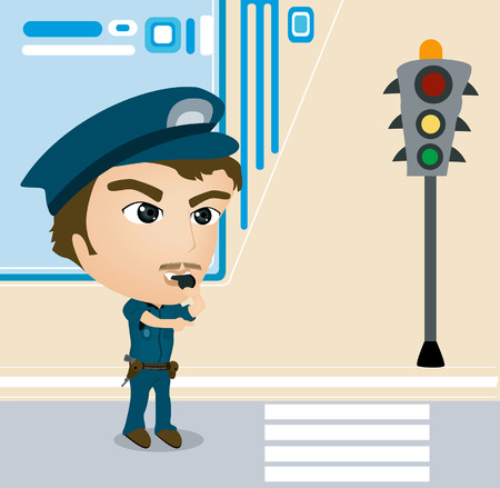 directing: A Policeman Caricature directing Traffic Illustration