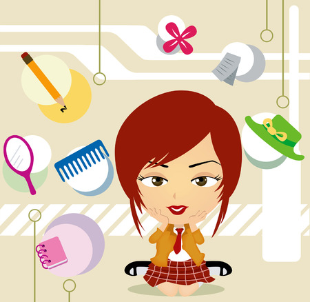 A School Girl Caricature surrounded by diff things Vector