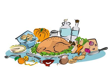 filling line: Thanksgiving Food Preparation Illustration