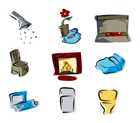 kitchen shower: Parts of the House Icons Illustration
