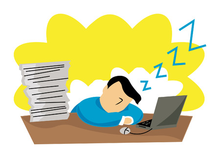 Business Concepts: Sleeping at WOrk Stock Vector - 2430030