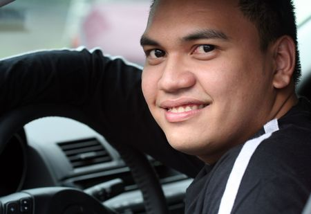 Young Asian Male in the Car Stock Photo